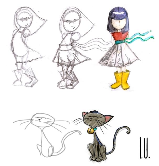 Diseño de los personajes Aurora y Gaviota. Bocetos
