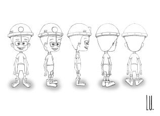 Diseño del personaje Mario. Giro 180º