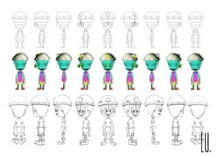 Diseño del personaje Mario. Giro 360º
