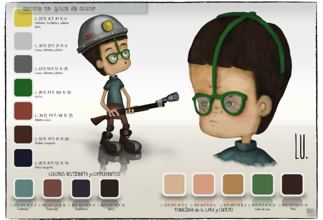 Diseño del personaje Mario. Hoja de color