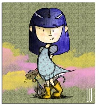 Diseño final de los personajes Aurora y Gaviota para el videoclip de animación %22Estoy a Oscuras%22